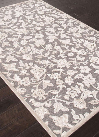 Jaipur Rugs RUG111913 Machine Made Lustrous Finish Art Silk/ Chenille Gray/Ivory Area Rug ( 2X3 ) - Peazz.com