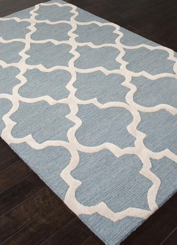 Jaipur Rugs RUG111691 Hand-Tufted Geometric Pattern Wool Blue/Ivory Area Rug ( 2X3 ) - Peazz.com