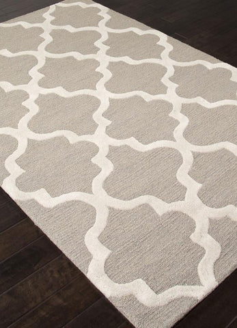 Jaipur Rugs RUG111695 Hand-Tufted Geometric Pattern Wool Gray/Ivory Area Rug ( 2X3 ) - Peazz.com