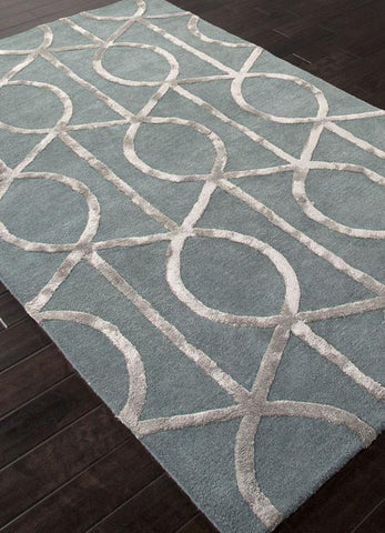Jaipur Rugs RUG111622 Hand-Tufted Geometric Pattern Wool/ Art Silk Blue/Gray Area Rug ( 2X3 ) - Peazz.com