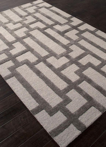 Jaipur Rugs RUG111623 Hand-Tufted Geometric Pattern Wool/ Art Silk Ivory/Gray Area Rug ( 2X3 ) - Peazz.com
