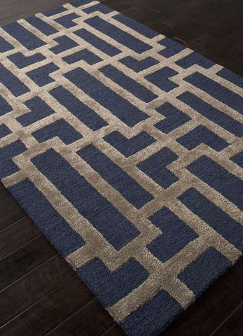 Jaipur Rugs RUG111626 Hand-Tufted Geometric Pattern Wool/ Art Silk Blue/Tan Area Rug ( 2X3 ) - Peazz.com