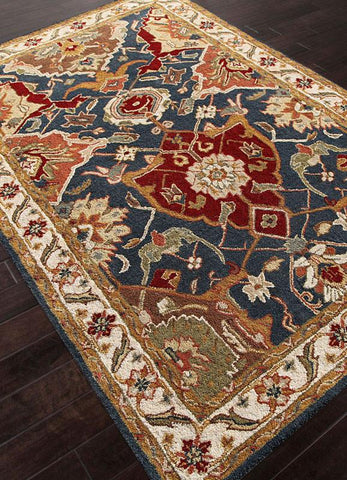 Jaipur Rugs RUG109783 Hand-Tufted Durable Wool Blue/Ivory Area Rug ( 5X8 ) - Peazz.com
