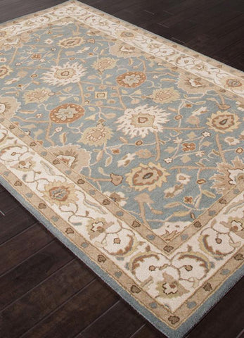 Jaipur Rugs RUG109789 Hand-Tufted Durable Wool Blue/Ivory Area Rug ( 5X8 ) - Peazz.com