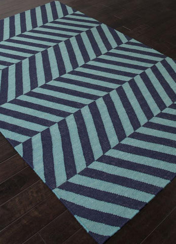 Jaipur Rugs RUG112261 Flat-Weave Stripe Pattern Wool Blue/ Area Rug ( 8x10 ) - Peazz.com