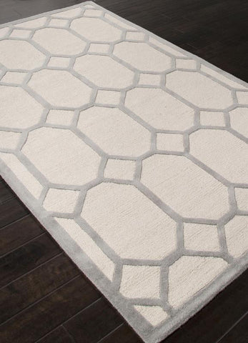 Jaipur Rugs RUG112662 Hand-Tufted Looped & Cut Wool Ivory/Gray Area Rug ( 4X6 ) - Peazz.com
