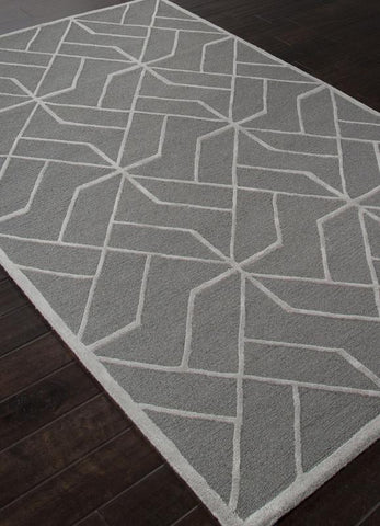 Jaipur Rugs RUG112677 Hand-Tufted Looped & Cut Wool Gray/Ivory Area Rug ( 4X6 ) - Peazz.com