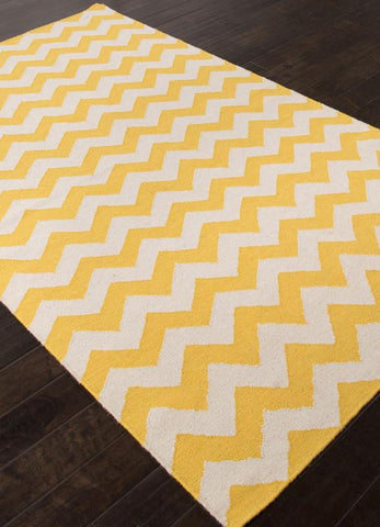 Jaipur Rugs RUG111230 Flat-Weave Durable  Wool Yellow/Ivory Area Rug ( 5X8 ) - Peazz.com