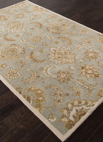 Jaipur Rugs RUG111257 Hand-Tufted Durable Wool Blue/Ivory Area Rug ( 5X8 ) - Peazz.com