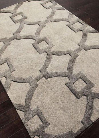 Jaipur Rugs RUG113569 Hand-Tufted Geometric Pattern Wool/ Art Silk Ivory/Gray Area Rug ( 2X3 ) - Peazz.com