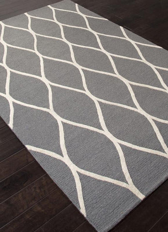 Jaipur Rugs RUG112695 Hand-Tufted Looped & Cut Wool Gray/Ivory Area Rug ( 5X8 ) - Peazz.com