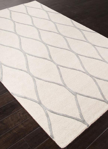 Jaipur Rugs RUG112672 Hand-Tufted Looped & Cut Wool Ivory/Gray Area Rug ( 4X6 ) - Peazz.com