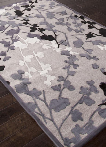 Jaipur Rugs RUG113535 Machine Made Floral Pattern Art Silk/ Chenille Gray/Black Area Rug ( 2X3 ) - Peazz.com