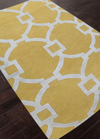 Jaipur Rugs RUG113652 Hand-Tufted Geometric Pattern Wool/ Art Silk Yellow/Ivory Area Rug ( 9.6x13.6 ) - Peazz.com