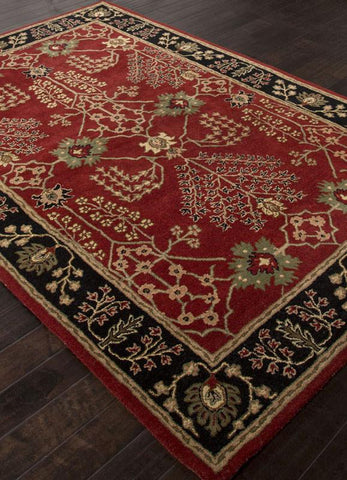 Jaipur Rugs RUG113769 Hand-Tufted Arts and Craft Pattern Wool Red/Black Area Rug ( 5X8 ) - Peazz.com