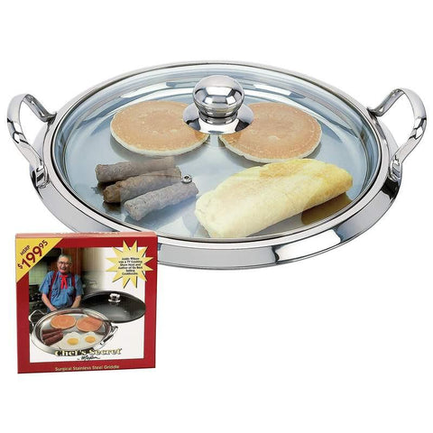 Chef's Secret by Maxam 5-Ply Surgical Stainless Steel Round Griddle with See-Thru Glass Lid - Peazz.com