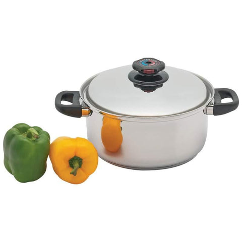 Precise Heat 5.5qt 12-Element Surgical Stainless Steel Stockpot with Vented Lid - Peazz.com