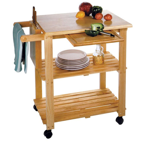 Winsome Wood 89933 Kitchen Cart with Cutting Board, Knife Block and Shelves - Peazz.com