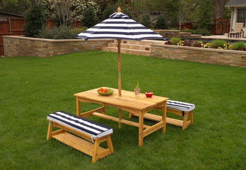 KidKraft 106 Outdoor table & Chair Set With Cushions & navy stripes - Peazz.com