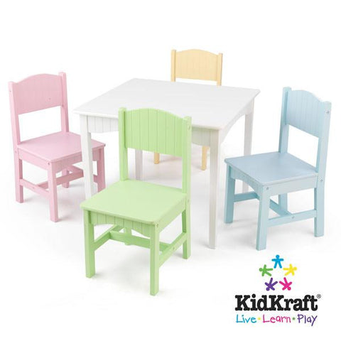KidKraft Nantucket Table & 4 Pastel Chairs 26101 - Peazz.com