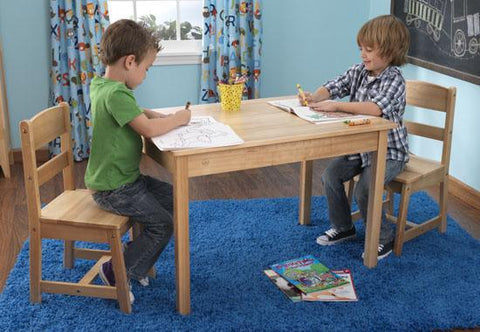 KidKraft 26681 Rectangle Table & 2 Chair Set- natural - Peazz.com