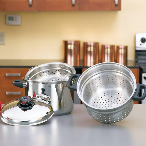 Steam Control 8qt Surgical Stainless Steel Stockpot/Spaghetti Cooker - Peazz.com