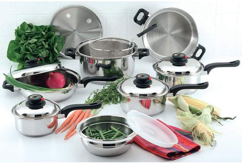 Chef's Secret 15pc 9-Element Stainless Steel Cookware - Peazz.com