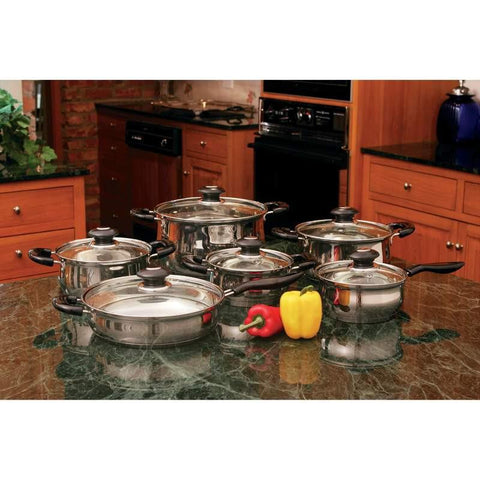 Wyndham House 12pc Stainless Steel Cookware Set - Peazz.com