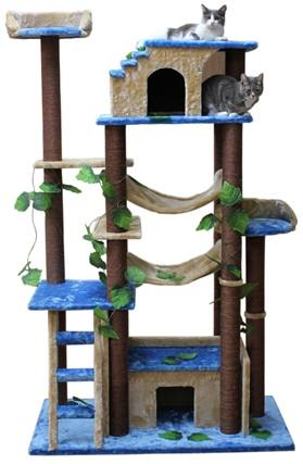 Amazon Cat Tree in Blue/Beige by Kitty Mansions - Peazz.com