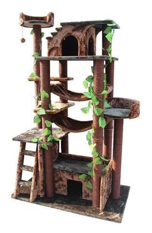 Amazon Cat Tree in Green/Brown by Kitty Mansions - Peazz.com