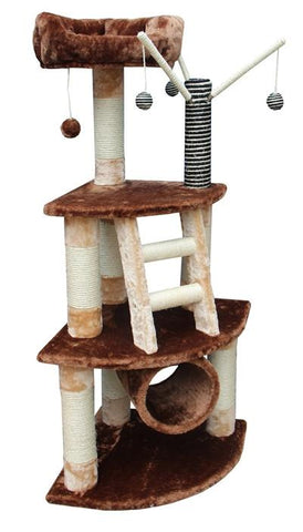 Athens Cat Tree in Brown/Beige by Kitty Mansions - Peazz.com