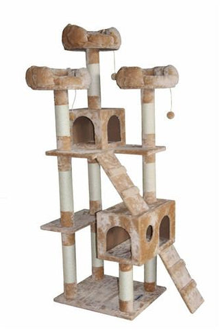 Bel Air Cat Tree in Beige by Kitty Mansions - Peazz.com