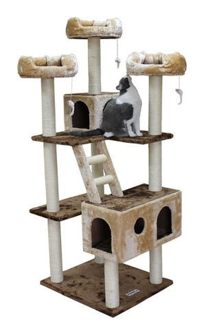 Beverly Hills Cat Tree in Brown/Beige by Kitty Mansions - Peazz.com