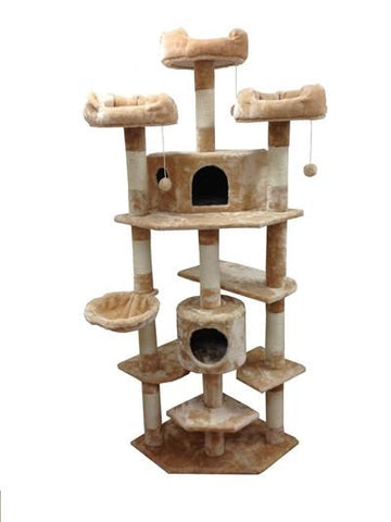 Denver Cat Tree in Beige by Kitty Mansions - Peazz.com