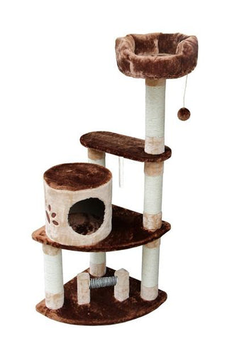 Florence Cat Tree in Brown/Beige by Kitty Mansions - Peazz.com
