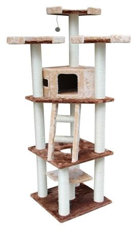 Hollywood Cat Tree in Brown/Beige by Kitty Mansions - Peazz.com