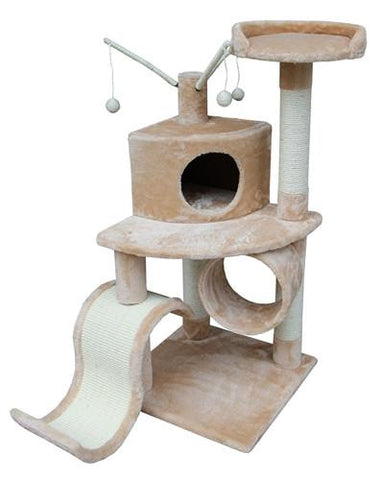 Memphis Cat Tree in Beige by Kitty Mansions - Peazz.com