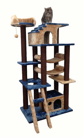 Mini Amazon Cat Tree in Blue by Kitty Mansions - Peazz.com