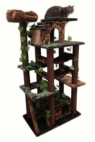 Mini Amazon Cat Tree in Green by Kitty Mansions - Peazz.com