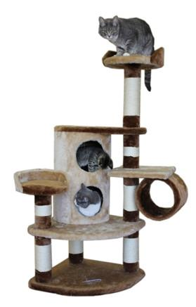 Nashville Cat Tree in Beige/Brown by Kitty Mansions - Peazz.com