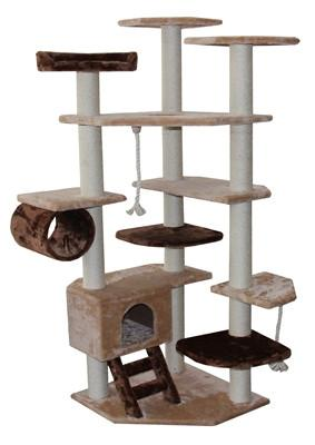 Troy Cat Tree in Brown/Beige by Kitty Mansions - Peazz.com