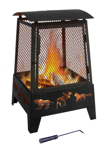 Landmann 25319 Haywood Fireplace Wildlife Cutouts, Black Sandpaint, Matte Blk Screen, Poker Included - Peazz.com
