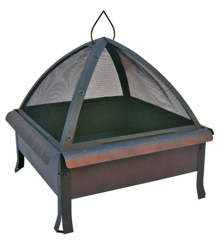 Landmann 25413 24 In. Tudor, Oval & Circle Emboss, Speckled Bronze Firebox And Curved Rim Trim, Includes Poker And Cover - Peazz.com