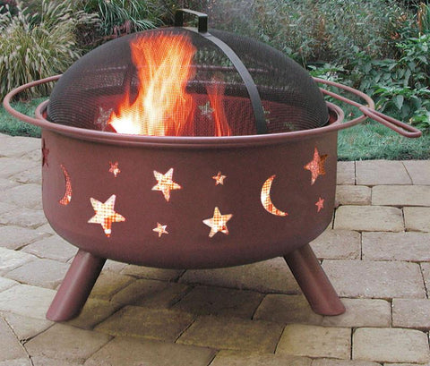 Bayden Hill 28335 Big Sky® - Stars & Moon - Georgia Clay, Includes Poker And Cooking Grate - Peazz.com