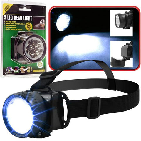 Super Bright 5 LED Headlamp With Adjustable Strap - Peazz.com