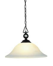 Landmark 190-P-BK-G1 Designer Classics One Light Billiard/Island in Matte Black with White Faux Alabaster Glass Shade - Peazz.com