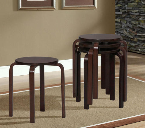 "17"" Bentwood Stool - Wenge - 1771WENG-04-AS-U (4 Pack) - BarstoolDirect.com"