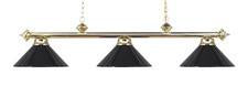 Landmark 167-PB-BK Casual Traditions Three Light Billiard/Island in Polished Brass with Black Metal Shades - Peazz.com