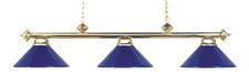 Landmark 167-PB-BLUE Casual Traditions Three Light Billiard/Island in Polished Brass with Blue Metal Shades - Peazz.com