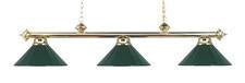 Landmark 167-PB-GR Casual Traditions Three Light Billiard/Island in Polished Brass with Green Metal Shades - Peazz.com